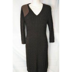 Lauren Ralph Lauren Leather Patch Sweater Dress